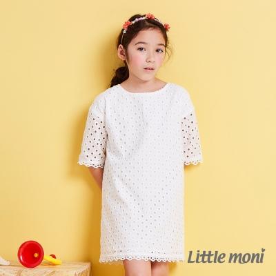 Little moni 經典優雅女孩蕾絲洋裝  白色