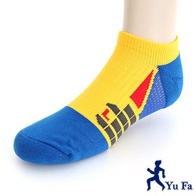 YuFa裕發 抗菌消臭環護足弓船型運動襪(黃藍)