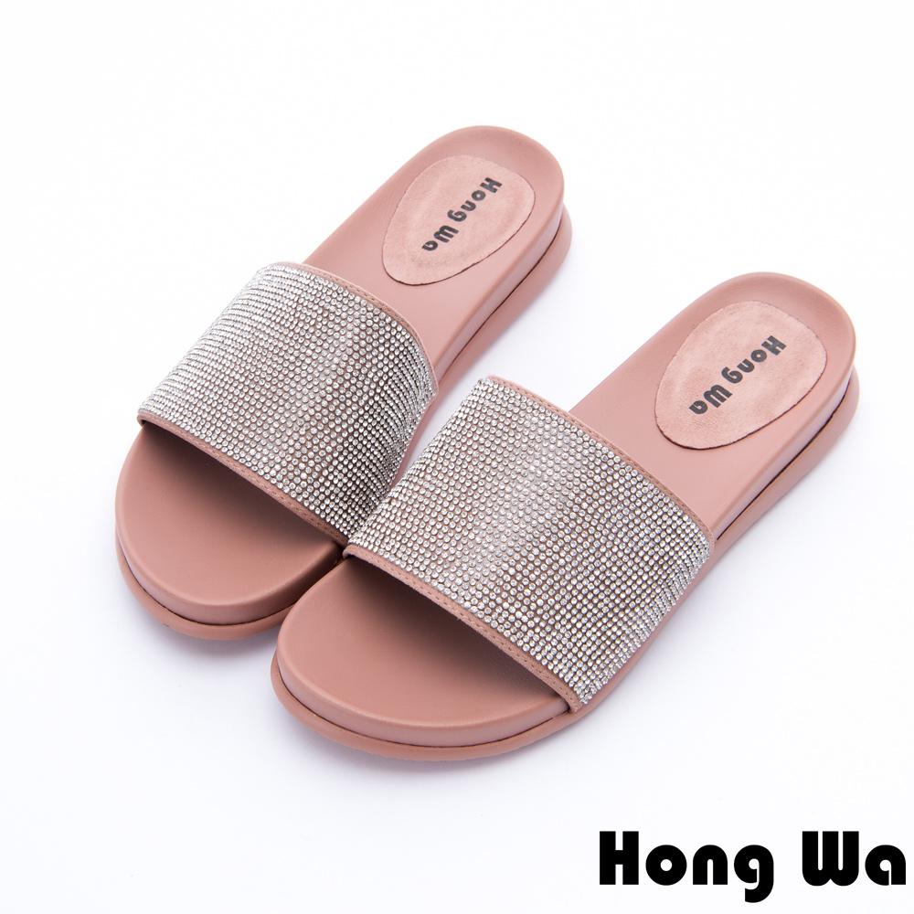 Hong Wa - 度假海洋風水鑽貼飾休閒拖鞋 - 粉