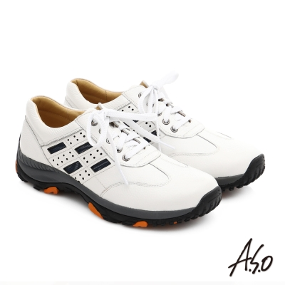 A.S.O 3D超動能 真皮抗震奈米綁帶休閒鞋 白色
