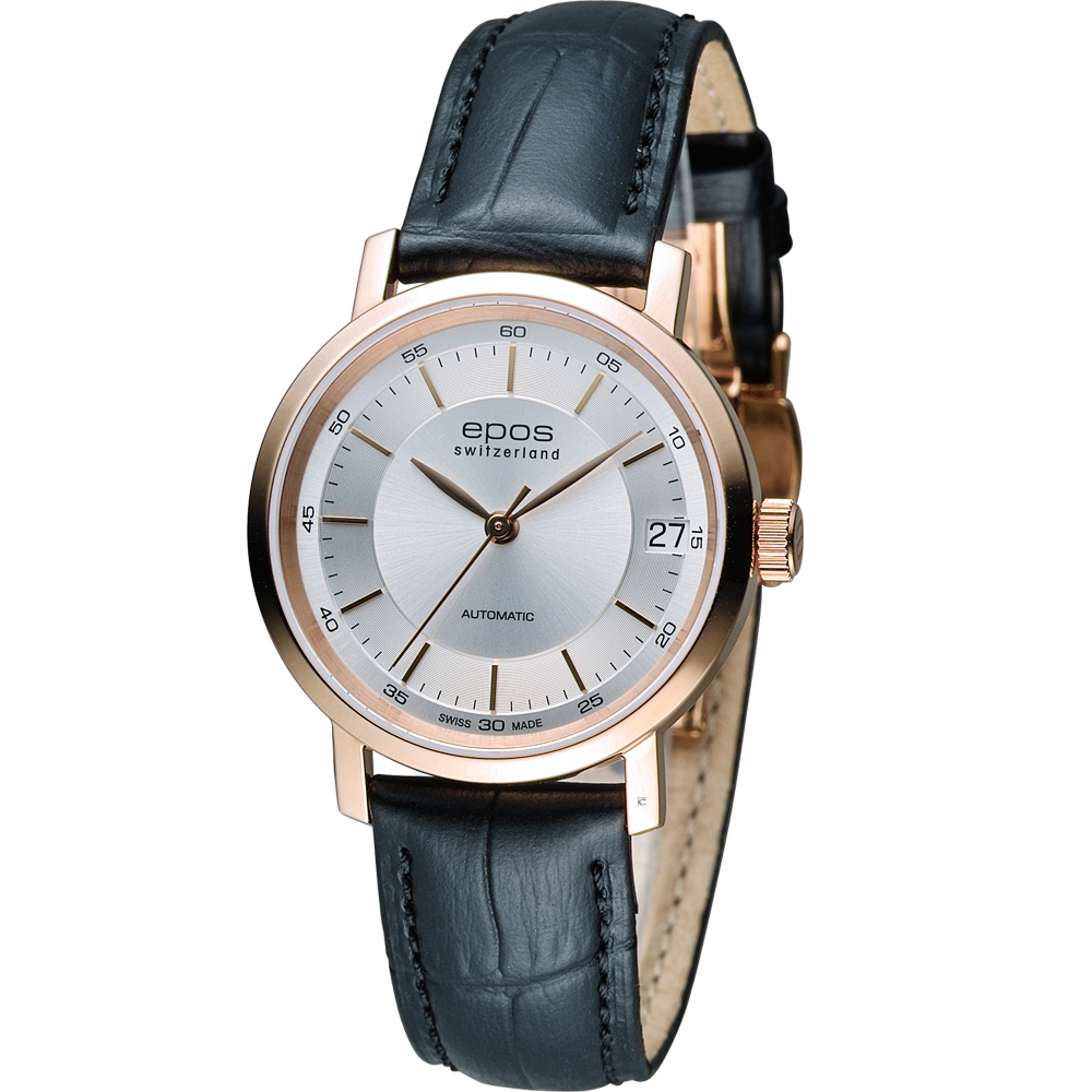 EPOS Originale 原創系列 英倫都會優雅機械錶-白x玫瑰金色/31mm