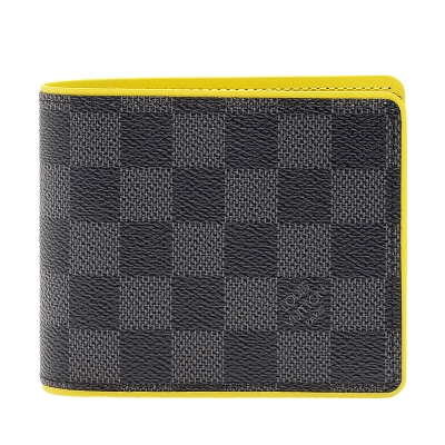 LV N63258 經典Damier棋盤格Multiple萬用短夾(黑灰X黃)