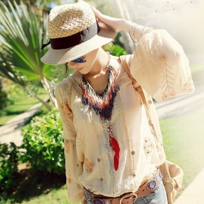 梨花HaNA  旅行漫步陽光緞帶紳士草帽