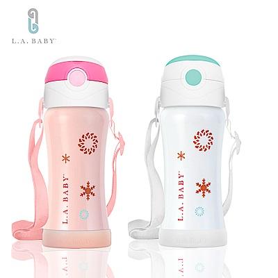 (L.A. Baby)   316超輕量保溫保冷兒童水壺 270ml(瑰蜜粉.珍珠白)