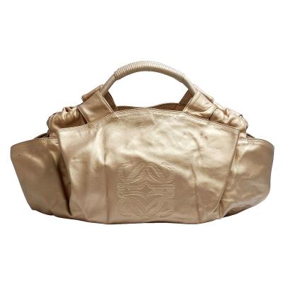 LOEWE 經典空氣系列LOGO壓印軟羊皮抓皺手提包(大-金色-展示品)