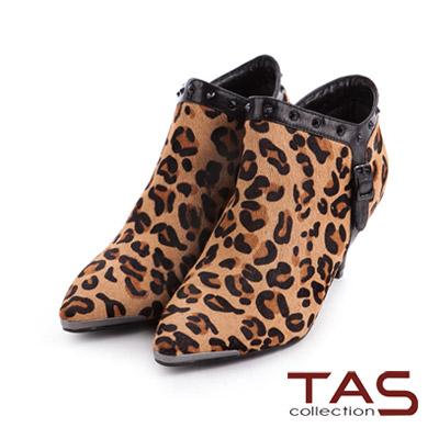 TAS-歐美style鉚釘滾邊真皮V口踝靴-豹紋棕