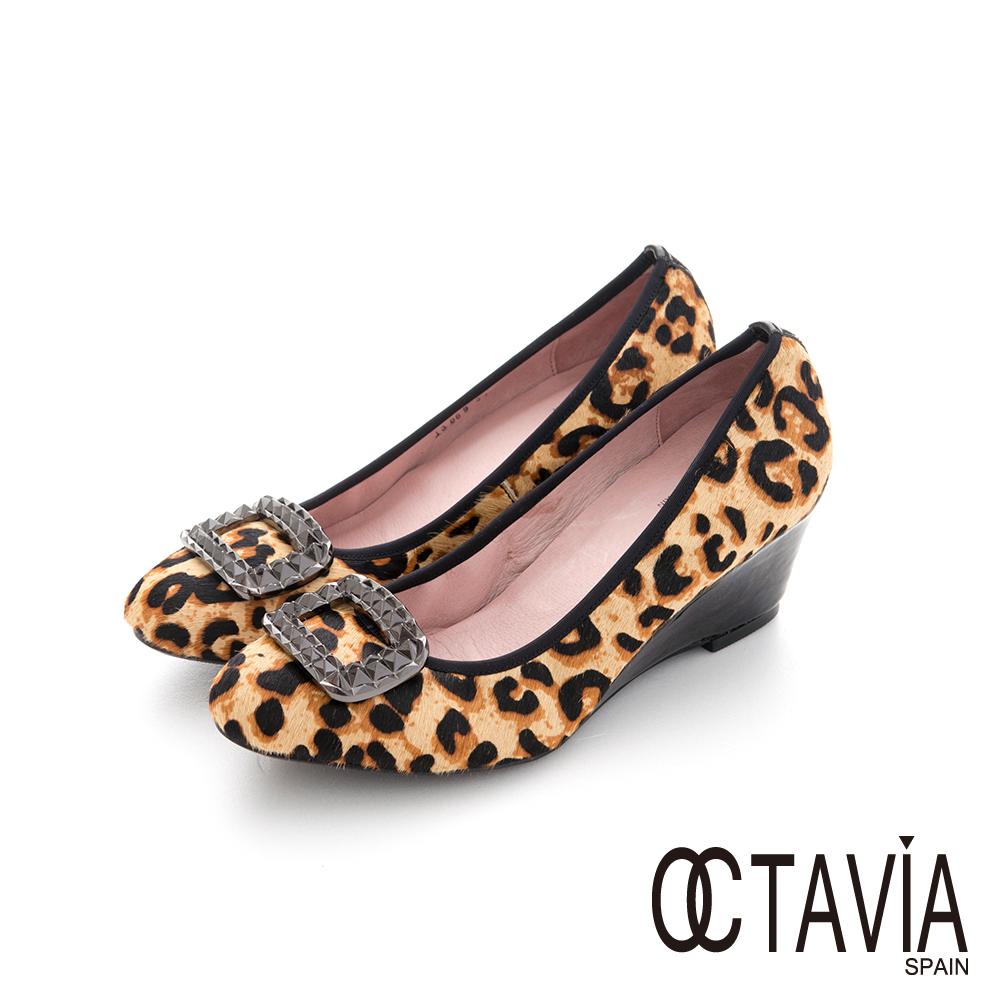 OCTAVIA - 方塊鑽 豹紋底楔型高跟鞋 - 立鑽豹紋