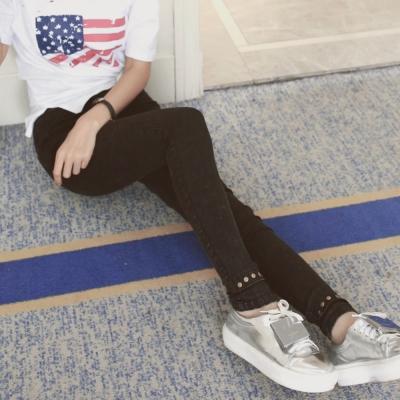 中大尺碼褲管鉚釘水洗復古黑色牛仔褲窄管小腳褲XL~4L-Ballet Dolly