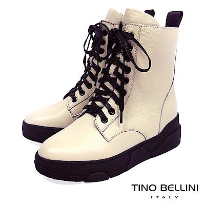 Tino Bellini中性話題舒適全真皮綁帶軍靴_ 米白