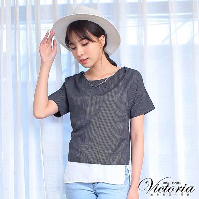 Victoria 假二件項鍊飾寬鬆短袖T-女-黑底白細條