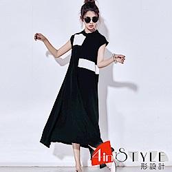 小立領撞色拼接不對稱大擺洋裝 (黑色)-4inSTYLE形設計