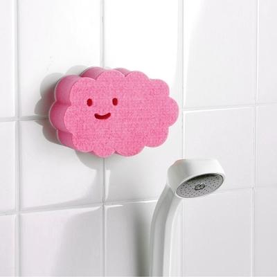 日本製造aisen黏貼式大片雲朵浴室海綿刷2入裝