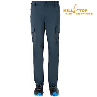 【hilltop山頂鳥】男款吸濕排汗抗UV彈性長褲S07MA7夜藍