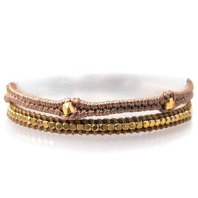 Wakami 華麗金色串珠蠟繩手鍊-駝色