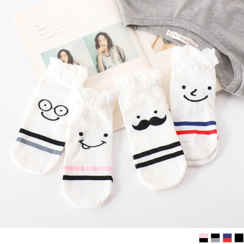 韓國趣味表情條紋船型襪.4色-OB大尺碼