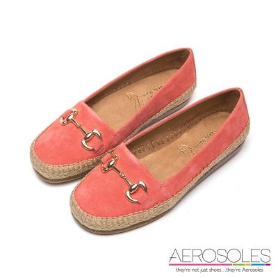 AEROSOLES-麂皮麻花編織金屬帶便鞋-珊瑚