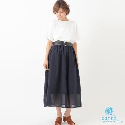 earth music 素面側開衩短袖上衣+透膚長裙+腰帶
