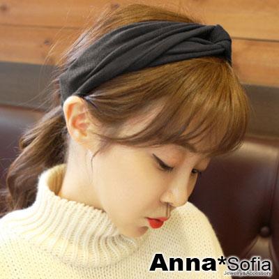 AnnaSofia-運動風交叉結-彈性寬髮帶-酷黑