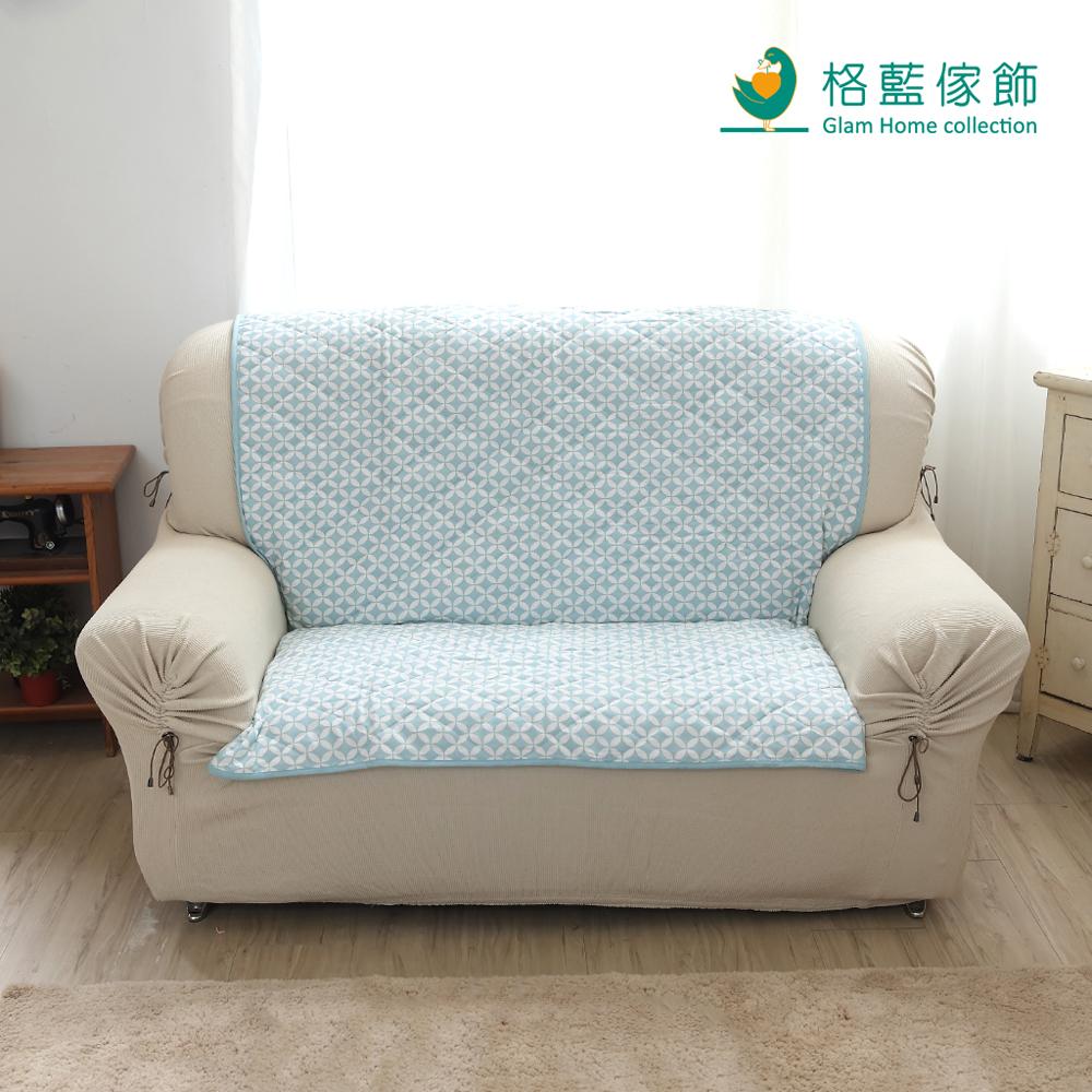 格藍傢飾 北歐風幾何沙發墊 2人座-天空藍