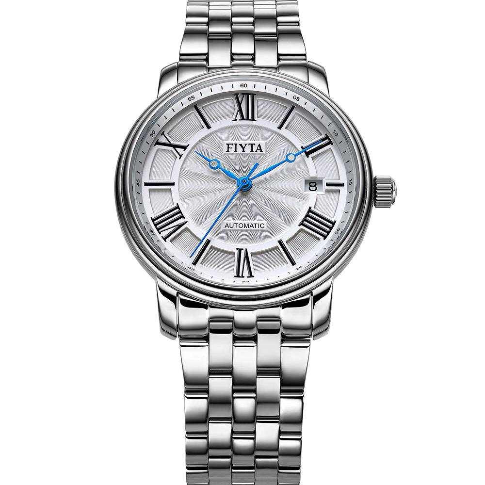 FIYTA 飛亞達 經典系列機械鋼帶腕錶-銀色/39mm