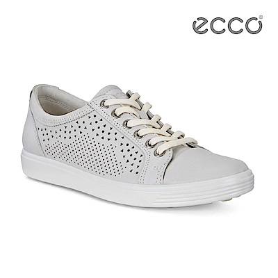 ECCO SOFT 7 LADIES 鏤空蕾絲雕花輕便休閒鞋-石灰