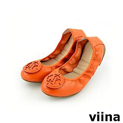 viina 經典款荔枝紋logo摺疊鞋MIT-橘色