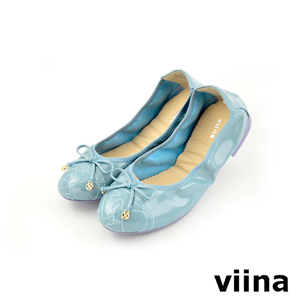 viina 可愛蝴蝶結鏡面刺繡摺疊鞋MIT-淺藍色