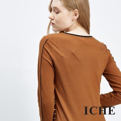ICHE-衣哲-線條放射印花造型上衣
