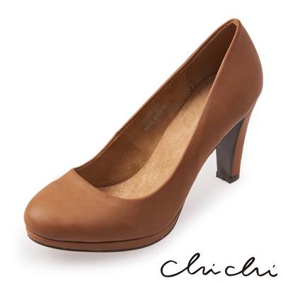 Chichi 氣質韓系優雅素面純色高跟鞋*駝色