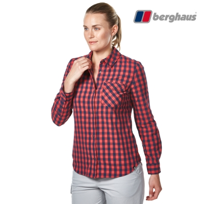 【Berghaus貝豪斯】女款銀離子抗菌除臭抗UV長袖襯衫S05F47紅