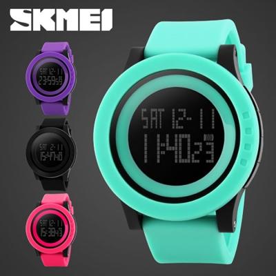 SKMEI時刻美 酷炫螢光色大錶盤防水電子錶-炫紫