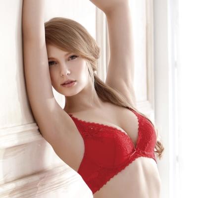 羅絲美內衣 - 女神風範深V泡棉款B-D罩杯內衣 (偷心紅)