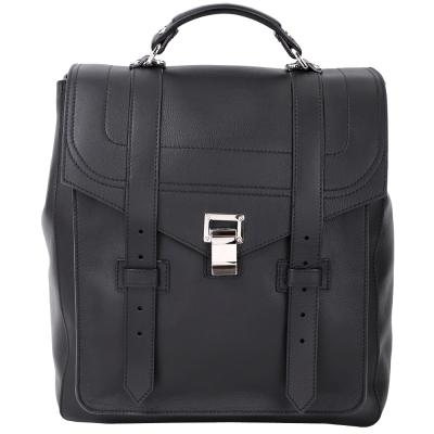 PROENZA SCHOULER PS1 銀釦皮革後背包(黑色)