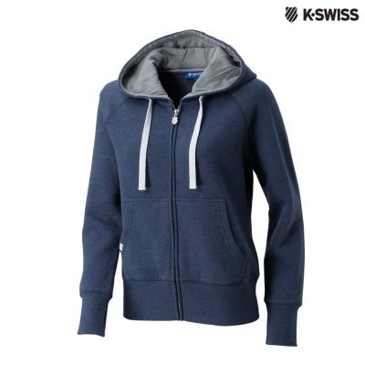 K-Swiss Raglan Slv Hood Jkt休閒連帽外套-女-藍