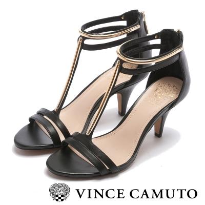 VINCE CAMUTO  迷人優雅 T字帶金屬低跟涼鞋-黑色