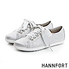 HANNFORT CALIFORNIA閃耀光澤緞帶休閒鞋-女-水晶銀