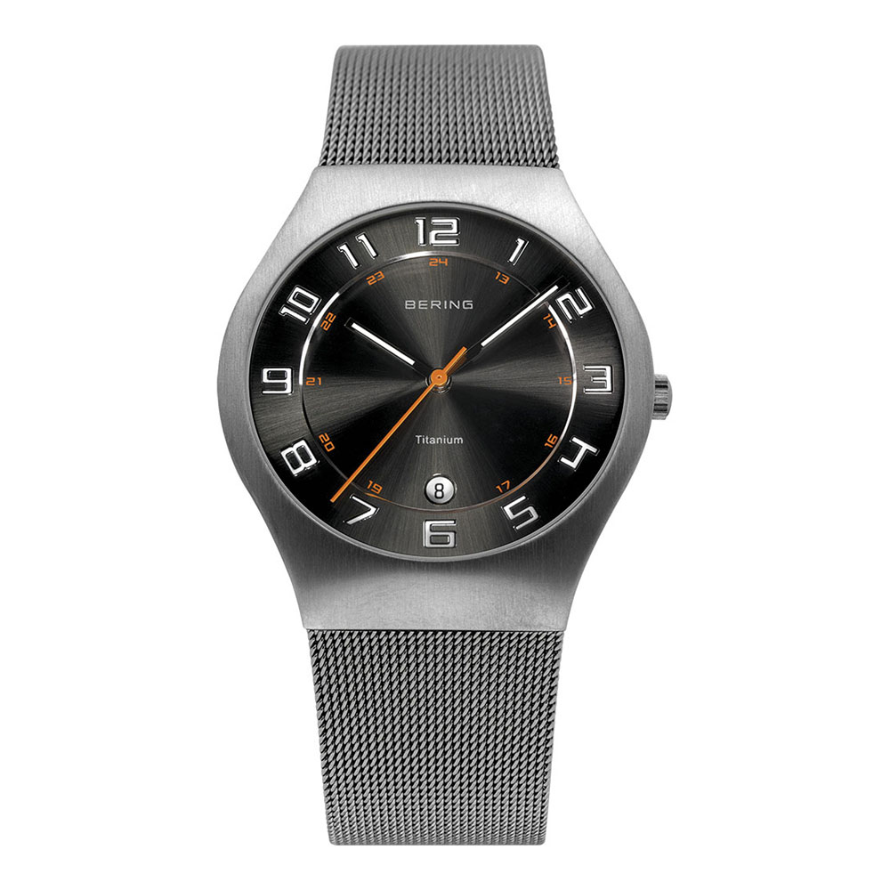 BERING丹麥精品手錶 日期顯示鈦合金米蘭錶帶系列 銀x黑37mm
