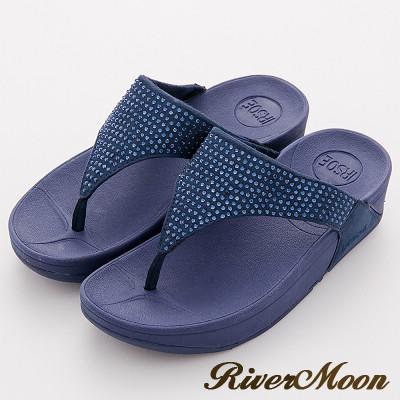 River&Moon拖鞋-單色晶鑽美體舒壓彈力夾腳涼鞋-藍