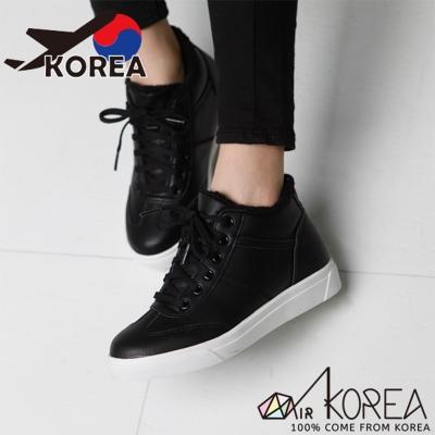 AIRKOREA-正韓時尚運動風保暖內鋪毛半高筒運