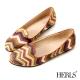 HERLS-條紋圖騰 柔軟樂福鞋-棕