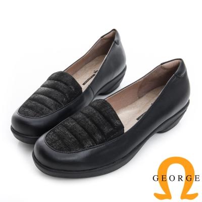 GEORGE 喬治-閃耀橫紋輕量彈力真皮低跟鞋-黑色