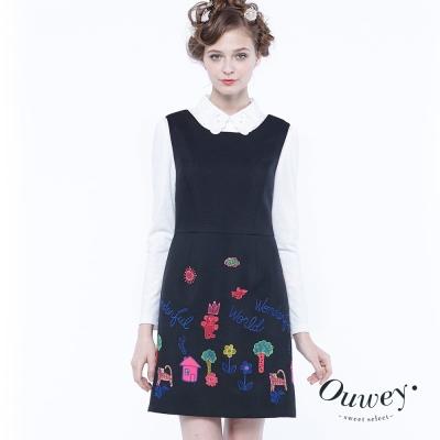 OUWEY歐薇 童趣刺繡背心洋裝(黑)