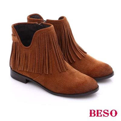 BESO 都會摩登女郎 絨面牛皮流蘇拉鍊短靴 卡其色