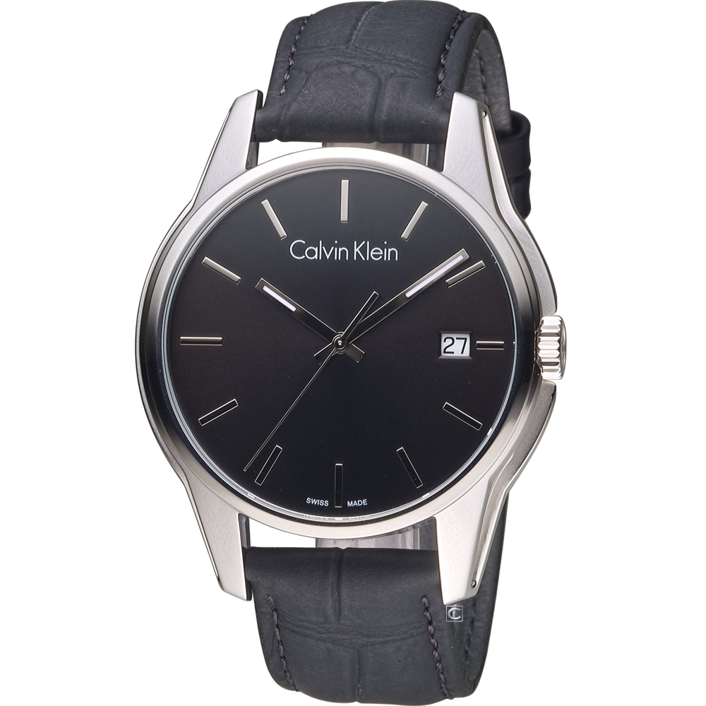 Calvin Klein 都會型男時尚腕錶-黑/44mm