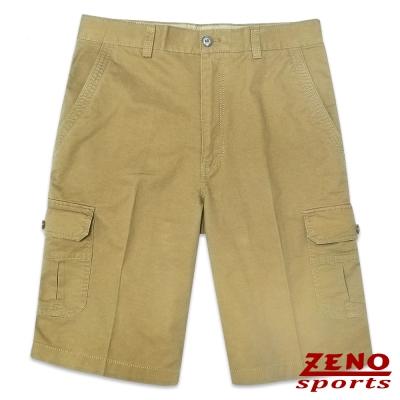 ZENO 水洗極簡純色休閒短褲‧褐色30~42