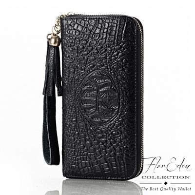 DF Flor Eden皮夾 - 上流品味鱷魚紋真皮單拉鍊長夾