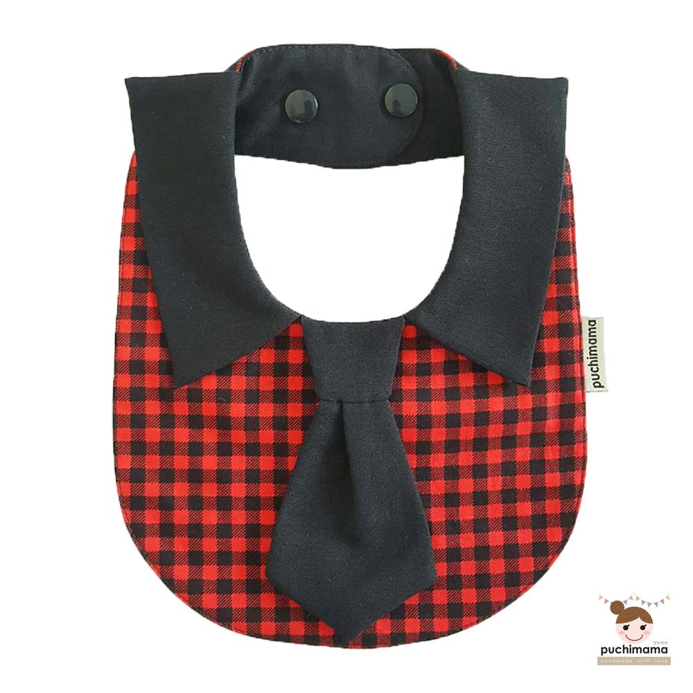 泰國 Puchimama 純棉領帶造型圍兜兜 (黑色領帶-紅色方格)