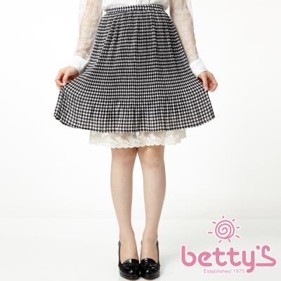 betty-s貝蒂思-蕾絲拼接格紋雪紡及膝裙-格紋