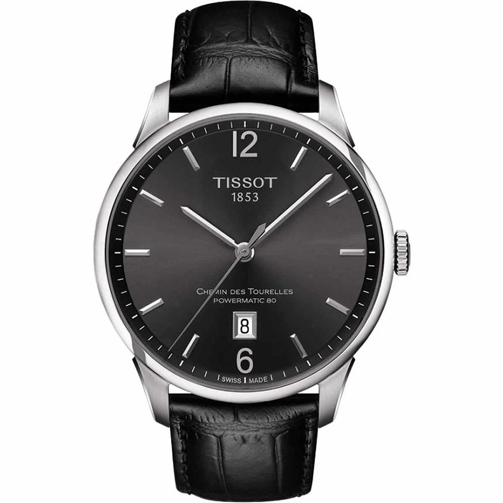 TISSOT 杜魯爾系列機械動力80腕錶-槍灰x黑/42mm