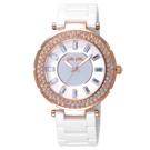 Folli Follie 舞動華爾茲時尚晶鑽腕錶-玫瑰金框白x陶瓷錶帶x大/42mm